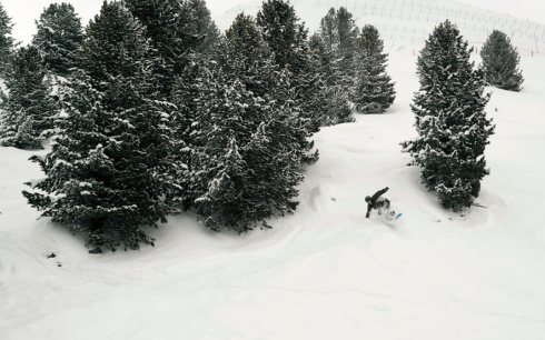 Stu starts well in the deep powder...
