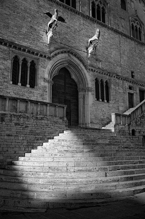 Town hall steps, empty...