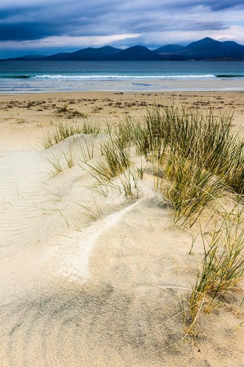 Wind on sand plus waves